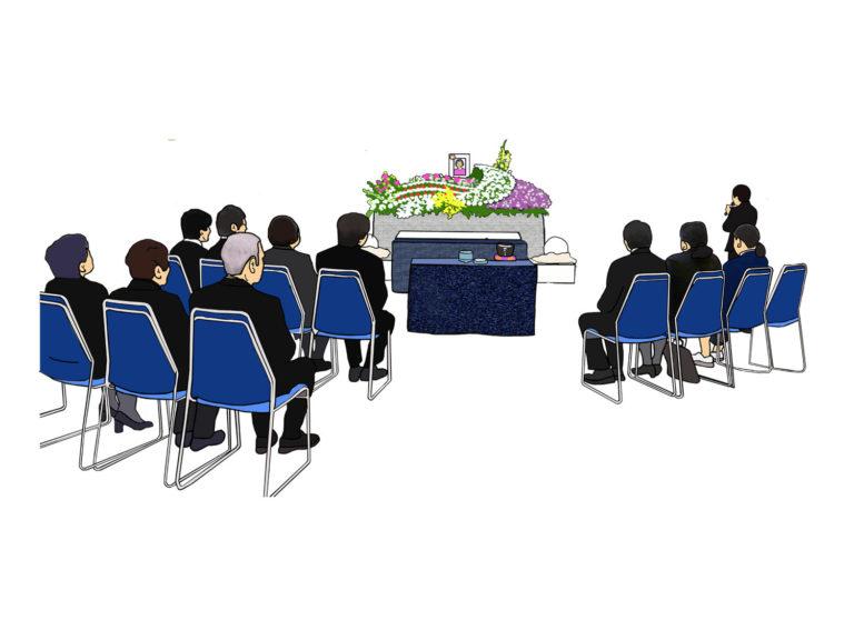 10名程の家族葬の様子