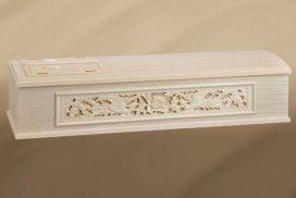 彫刻のある桐の高級棺