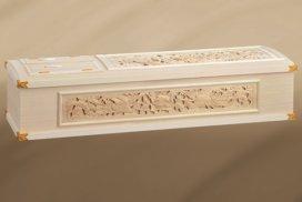 三面に彫刻がある桐の高級棺