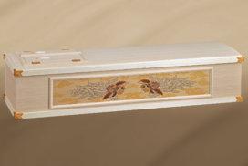 鳳凰柄の刺繍がある桐製の高級棺