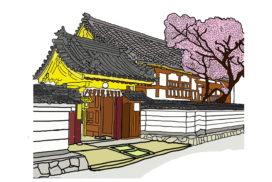 仏教寺院の建物と塀